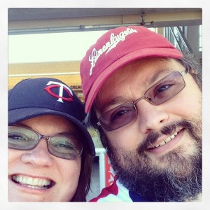 Justin and I at a Twins game, 2014